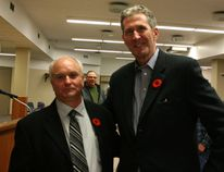 Newly nominated Selkirk PC candidate David Horbas (left) with Tory leader Brian Pallister at the Nov. 6, 2014 nomination meeting. Citing Horbas's campaign would be 'seriously problematic, the party dismissed the candidate Jan. 29. (File photo)