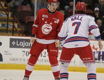 Soo Greyhounds Tim Gettinger and Kitchener Rangers Connor Hall fight during the first period at Essar Centre in Sault Ste. Marie, Ont., on Sunday, Jan. 31, 2016. (BRIAN KELLY/THE SAULT STAR/POSTMEDIA NETWORK)