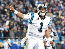 Carolina Panthers quarterback Cam Newton (1) reacts during the fourth quarter against the Arizona Cardinals in the NFC Championship football game at Bank of America Stadium. John David Mercer-USA TODAY Sports