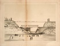 A drawing of the 1857 swing bridge disaster shows the casualties being carted away on the frozen Desjardin Canal after a train carrying 90 people derailed on the bridge. Toronto Public Library/Special to Postmedia Network