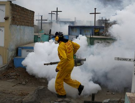 A health worker carries out fumigation as part of preventive measures against the Zika virus and other mosquito-borne diseases at the cemetery of Carabayllo on the outskirts of Lima