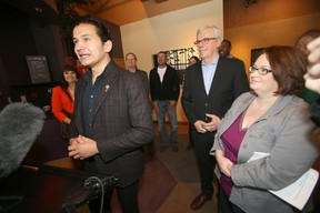 Wan Kinew announced today that he would seek the Fort Rouge NDP nomination.   From the left; Wab Kinew, Premier Greg Selinger, and MLA Jennifer Howard.  Tuesday, February 02, 2016.   Sun/Postmedia Network