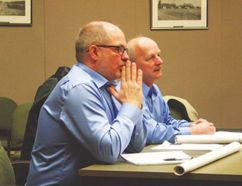 Brad Cressman (left) and Bernie Stahn of Canada Post met with Rockwood council during their committee of the whole meeting Jan. 27. (Adam Peleshaty, Interlake Publishing, Postmedia Network)