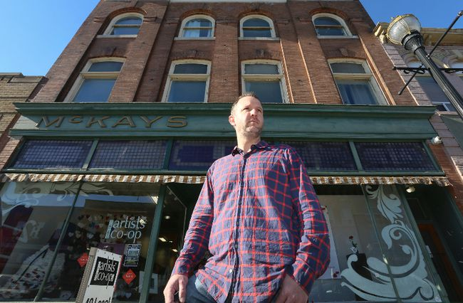 Jeff Mundle took over ownership of the McKay Building on 2nd Ave. E. last summer. Since then he has been putting a lot of work and time into returning the building to its former glory. (James Masters The Sun Times)