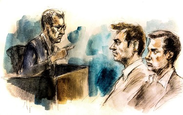 From left, witness Det. Greg Jackson testifies as accused killers Dellen Millard and Mark Smich listen at John Sopinka courthouse in Hamilton Feb. 3, 2016. (Sketch by Pam Davies)