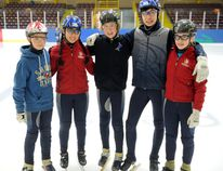 (Left to right) St. Lawrence Rapids speed skaters Cameron MacKay, Chloe Segal, Nolan Roney, Andrew Chartrand and Emma Grace Wheeler will all be competing this upcoming weekend. (Jonathon Brodie/The Recorder and Times)