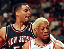New Jersey Nets' Jayson Williams strips the ball from Chicago Bulls' Dennis Rodman (91) during first quarter action of game two of the NBA Eastern Conference quarterfinals April 26 at the United Center.
