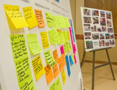 One of five feedback boards, attendees were invited to share any additional comments or desired city square amenities during the public consultations Jan. 28, (Alexis Stockford/The Morden Times)