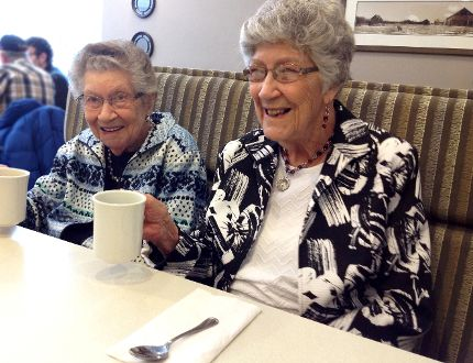 Dorothy Stewart, 100, (right) and sister Roberta Maile, 97, at an after-church Sunday brunch. PHOTO: BILL SCOTT