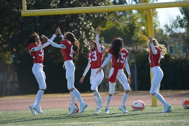 Victoria's Secret Angels Jasmine Tookes, Elsa Hosk, Adriana Lima, Alessandra Ambrosio and Taylor Hill shoot the #ScoreMore football video on January 13, 2016 in Los Angeles, California.  (Photo by Charley Gallay/Getty Images for Victoria's Secret)