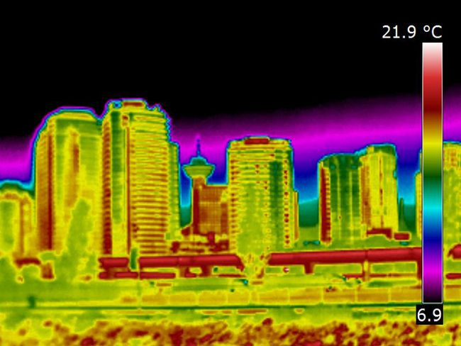 Thermal imaging of the Vancouver skyline. 