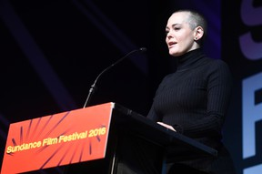 Rose McGowan addresses the audience during the 2016 Sundance Film Festival Awards Ceremony on Saturday, Jan. 30, 2016 in Park City, Utah. (Photo by Chris Pizzello/Invision/AP)