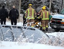 Paramedics, firefighters and police assist a man following a single-vehicle collision on Black Road north of Second Line East on Friday morning. A Kia Sorento, southbound on Black Road and driven by the male, left the roadway and just missed striking a culvert. The driver was taken to Sault Area Hospital.