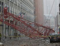 Emergency crews survey a massive construction crane collapse on a street in downtown Manhattan in New York, on Feb. 5, 2016. (REUTERS/Brendan McDermid)