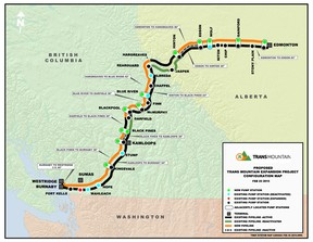 For the Trans Mountain pipeline expansion, the orange line represents the proposed expansion, where as the black line is the existing pipeline. - photo supplied