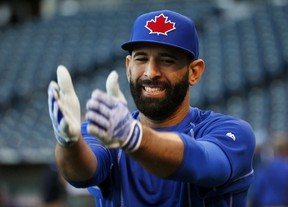 Toronto Blue Jays right-fielder Jose Bautista will coach Team Canada in Friday's NBA All-Star Celebrity Game. FILE pic. (THE CANADIAN PRESS/AP-Paul Sancya)