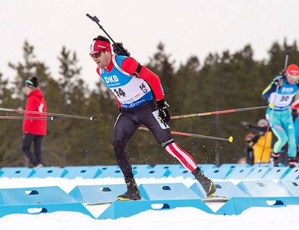 Canada's Nathan Smith races in the Mens 15km Mass Start at the BMW IBU Biathlon at the Canmore Nordic Centre on Saturday, Feb. 6, 2016. He placed 16. Pam Doyle for the Crag & Canyon