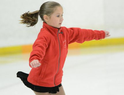 Ryan Paulsen / Daily Observer <br> Pembroke Skating Club's Adrianna Silvers maintains her balance during a spin move at the Pembroke and Area Community Centre on Saturday. Adrianna was competing in the 'team elements' portion of Saturday's interclub competition, which brought together seven different skating clubs from across the county.