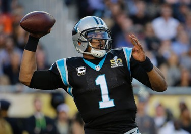 Carolina Panthers' Cam Newton passes against the Denver Broncos during the first half of the NFL Super Bowl 50 football game Sunday, Feb. 7, 2016, in Santa Clara, Calif.(AP Photo/Julio Cortez)