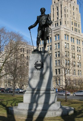 John Graves Simcoe, the first lieutenant-governor of Upper Canada, which became Ontario, is immortalized in a statue that graces the lawn of the Ontario legislature building at Queen's Park in Toronto. (File photo)