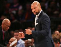New York Knicks head coach Derek Fisher reacts against the Memphis Grizzlies during the second half at Madison Square Garden. The Grizzlies defeated the Knicks 91-85. Adam Hunger-USA TODAY Sports
