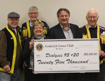 The Goderich Lions Club presented Dialysis 95 + 20 with a cheque for $25,000 towards the 100 day campaign on Feb. 5. Pictured here from left to right, David McDonald, Hugh Fitzmorris, Doug Bundy, Brenda Teichert, John Grace, Lawrence Beane and Ron Hamilton. (Laura Broadley/Goderich Signal Star)