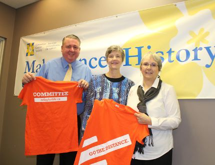 Mark Schadenberg, Sandy Smith and Deb Moss, members of the Relay for Life organizing committee, are busy preparing for the Relay Rally on Feb. 24 and the Woodstock Relay for Life on June 10. (MEGAN STACEY/Sentinel-Review)