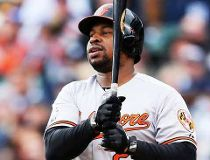 Delmon Young #27 of the Baltimore Orioles reacts as he strikes out in the second inning against the Detroit Tigers during Game Three of the American League Division Series at Comerica Park on October 5, 2014 in Detroit, Michigan.   Leon Halip/Getty Images