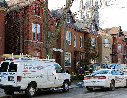 Kingston Police and the Ontario Fire Marshal are investigating a fire at 234 Brock St. in Kingston. (Steph Crosier/The Whig-Standard)