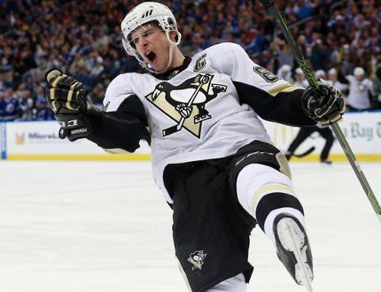 Pittsburgh Penguins center Sidney Crosby (87) celebrates after scoring a goal against the Tampa Bay Lightning during the second period at Amalie Arena. Kim Klement-USA TODAY Sports