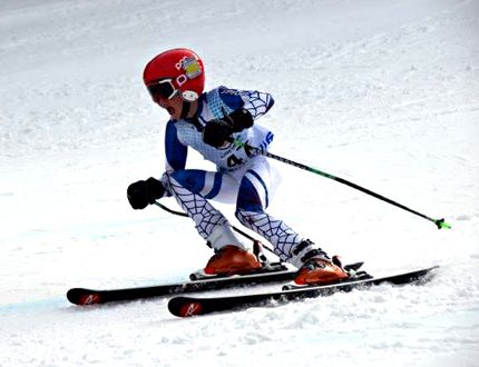 Samuel Harterre of the Timmins Ski Racers powered towards second place in the U14 boys giant slalom event at Antoine Mountain in Mattawa over the weekend
