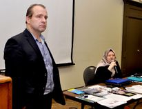 Barbara Helms, executive director of Cornwall-based Dar-ul-Ihsan Centre for Islamic Education, speaks to the local groups Refugees for Brockville and Transition Brockville on Monday at the Memorial Centre hall, while Mayor David Henderson listens. (RONALD ZAJAC/The Recorder and Times)