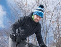 Jan Roubal plays in the snow with his fatbike outside Velorution. Ali Pearson/Sault This Week
