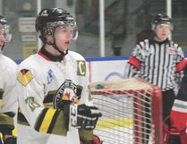 Powassan Voodoos captain Jake Staples scored and added four assists while Tyler Peters had a goal and five assists, with Nate McLeod registering a hat trick in a 9-2 win over the French River Rapids, Monday. Photo Supplied