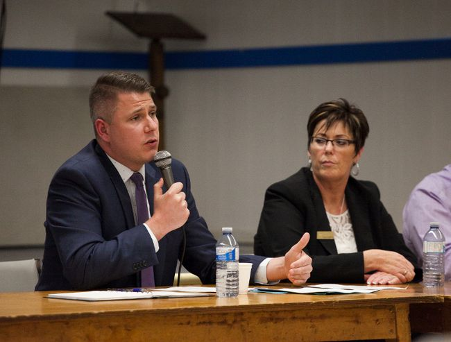 Meghan Balogh/Postmedia Network Jon Kastikainen, senior manager of stakeholder communications and public affairs with CIBC, at a public meeting in Deseronto last Thursday.