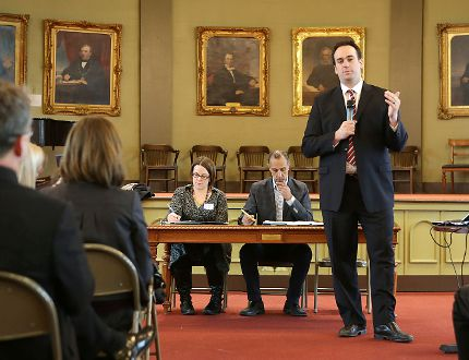Kingston and the Islands MP Mark Gerretsen speaks at a pre-budget consultation meeting on Tuesday. (Elliot Ferguson/The Whig-Standard)
