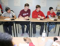 Beaver Brae Secondary School's Reach for the Top trivia team split its first two matches - a win against Miles Macdonell Collegiate before losing to Kelvin - on Tuesday, Feb. 9, when they hosted the second of three tournaments this season. Members of the Beaver Brae team (l-r) are: Kyle Wesley, Eric Nelson, Wesley Penner and Kenan Bird. Also on the team, but didn't play versus Kelvin are Ferg Ogden and Cole Kitt. SHERI LAMB/Daily Miner and News