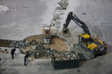 Construction crews at Rogers Centre have scored the floor and started to dig up the concrete for a new dirt infield Wednesday, February 10, 2016. (Jack Boland/Toronto Sun)