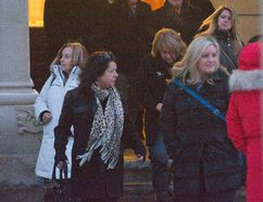 People most close to Noelle Paquette, including her mother Lynn in the white coat, father Roger (fourth man on the right wearing glasses) and sister Shauna Southcott (foreground, right )leave the Elgin County courthouse in St. Thomas, Ont. following a sentencing hearing for Noelle's killers on Wednesday February 10, 2016. Derek Ruttan/The London Free Press/Postmedia Network