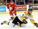 Sarnia Sting defenceman Josh Jacobs, observed by Soo Greyhounds centre Hayden Verbeek, takes a tumble during first-period action Wednesday, Feb. 10, 2016 at Essar Centre in Sault Ste. Marie, Ont. JEFFREY OUGLER/SAULT STAR/POSTMEDIA NETWORK