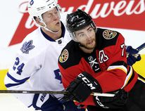 Calgary Flames defenceman T.J. Brodie of Dresden wore an 'A' in Sean Monahan's absence in Tuesday's game against the Toronto Maple Leafs in Calgary. (AL CHAREST/Postmedia Network)