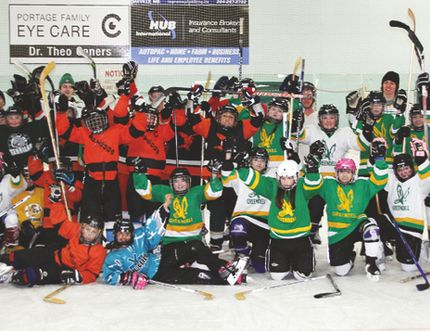 Members of the LVS Hockey Skills program, the RCMP, Portage Fire Department, Portage Terriers and DOPS took part in a fun, friendly game at the BDO Centre on the program's final day Feb. 9, 2016. (Matt Hermiz/TheGraphic/Postmedia Network)