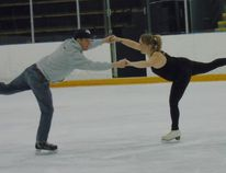 Amelia Allen and partner Dave MacKay showed fine form with this double spiral during the first official practice Feb. 8 for the upcoming Saugeen Shores Battle of the Blades at the Port Elgin Plex.