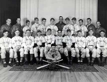 The 1951 OBA Delhi Tobaccomen Intermediate C team will be one of the teams celebrated at the Delhi Reunion of Champions. Pictured are, front row: Fred Terryberry (bat boy). Second row: Pete Wolfer, Ron Gifford, Berton Axford, Ned Wolfer, Zeke Van Goethem (manager), Bill Pennington (coach), Jack Boughner, Ron Bearse, Cliff Whitehead and Bruce Lehman.Third row: Allen Brown (vice president), Jack Horne (treasurer), Blackie Jacques, Wes Gray, Neil McColl, Bob Johnson, Earl Johnson, Carl Decker, Bill Taggart, Howard Boughner, Wolsey Stockford (president) and Bill Klein (business manager). (Contributed Photo)