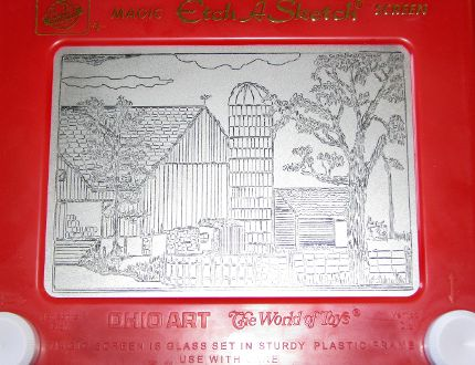 In this June 26, 2008 file photo, an Etch A Sketch drawing made by artist Andy Kingston depicts a rural farm scene in Poplar Bluff, Mo. Ohio Art Co. sold the Etch A Sketch and the spinoff Doodle Sketch to Spin Master Corp. for an undisclosed price to a toy firm in Toronto. Ohio Art announced the surprise move Thursday, Feb. 11, 2016. (Margaret Harwell/The Daily American Republic via AP)