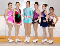 Performing admirably at the James Bay Skating Competition in New Liskeard were Tisdale Skating Club athletes, from left: Grace Manol, Shelby Deacon, Cheyenne Robitaille, Tiana Andrews, Savannah Belec-Gelinas, and Miah-Yuan Corbeil.