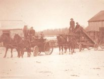 An 1894 image shows steam threshing on the Lieury-area farm of Andrew Brown Erskine. Fans who know of John Cassidy's canine tales will not be surprised to learn Erskine had a mad dog. (McGillivray Township History Group )
