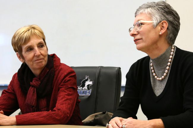 Keyano board chair Kara Flynn, right, introduces interim president Tracy Edwards at a media event in Fort McMurray Alta. on Friday February 12, 2016. Garrett Barry/Fort McMurray Today/Postmedia Network