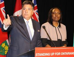 <p>Ontario Finance Minister Charles Sousa and Associate Finance Minister Mitzie Hunter, responsible for the implementation of the Ontario Retirement Pension Plan, accuse the Stephen Harper government of playing politics by blocking CPP participation in the provincial pension proposal. The ministers held a media conference Thursday, July 30, 2015, days before an anticipated federal election call, to criticize the Harper government.</p><p> Antonella Artuso/Toronto Sun/Postmedia Network