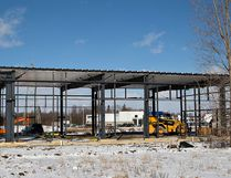 Construction of the new location of DeeJay Auto Sales and Service at King George and Powerline Roads helped boost building permits for the month of January in Brantford.